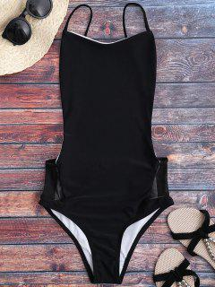Spaghetti Straps Backless One Piece Swimsuit - Black S