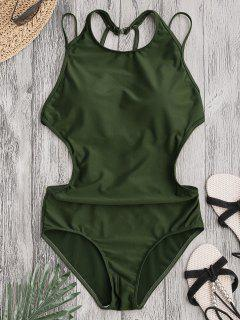 Padded Back Strappy Swimwear - Army Green L