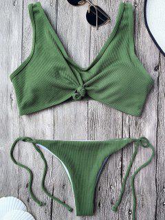 Bikini Brassière Plissé Avec Nœud Et Ficelle - Vert Armée S
