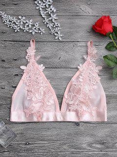 Applique Sheer Mesh Plunge Bralette Top - Pink Xl