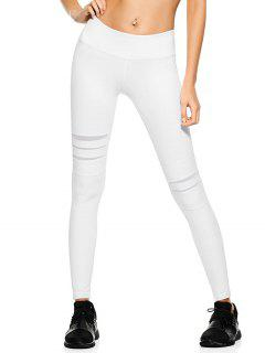 Mesh Panel Stretchy Yoga Leggings - White L