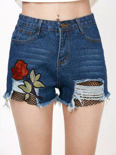 Rose Embroidery Ripped Jean Shorts With Fishnet - Denim Blue M