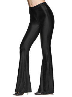 Elastic Waist Shinny Flare Pants - Black M