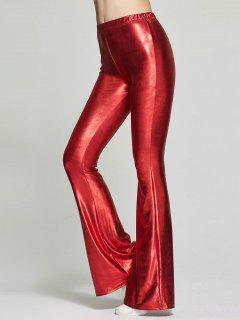 Elastic Waist Shinny Flare Pants - Red S