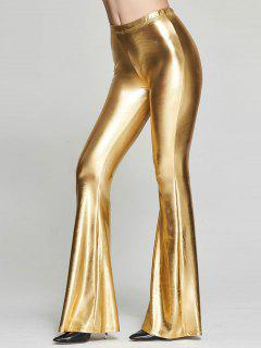 Elastic Waist Shinny Flare Pants - Golden Xl