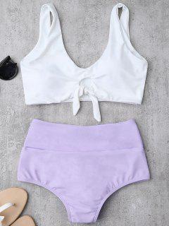 Traje De Bikini Fruncido Anudado Con Cintura Alta - Púrpura M