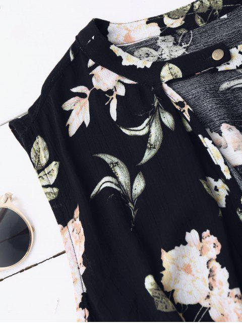 shop Keyhole Floral Tunic Dress - BLACK S Mobile