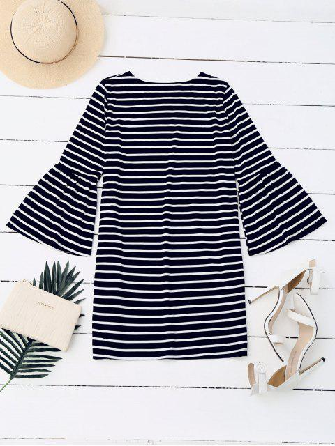 lady Flare Sleeve Striped Casual Dress - STRIPE M Mobile