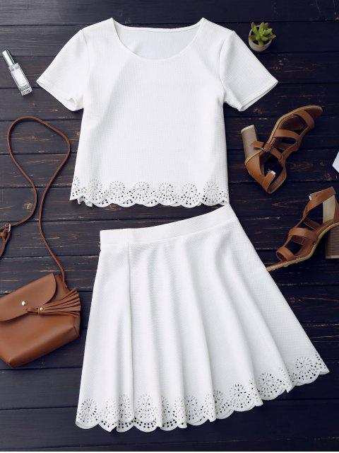 online Sheer Scalloped Top and A-Line Skirt - WHITE L Mobile