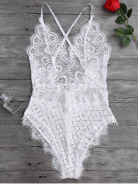 affordable Scaolloped Sheer Eyelash Lace Teddy Bodysuit - WHITE XL Mobile