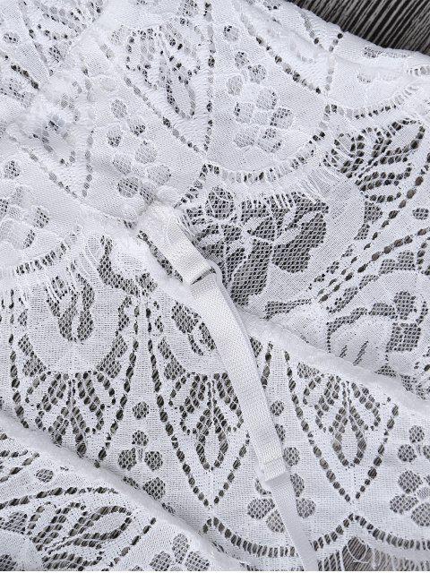 Body en dentelle festonné transparent en œillet - Blanc XL Mobile