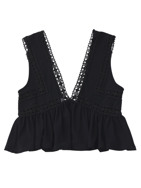 latest Ruffles Lace Trim Cropped Tank Top - BLACK M Mobile