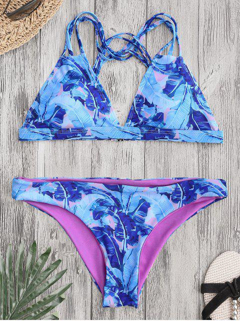 online Leaf Print Strappy Back Bikini - COLORMIX S Mobile