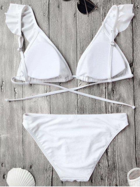 outfit Ruffles Back Tied Padded Bikini Set - WHITE S Mobile
