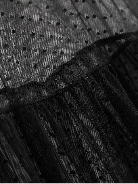 fancy Sheer Mesh Midi Beach Cover Up Dress - BLACK M Mobile