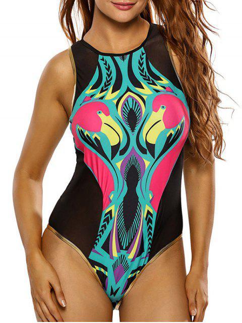women's Flamingo Print Mesh Cute High Neck Swimsuit - BLACK S Mobile
