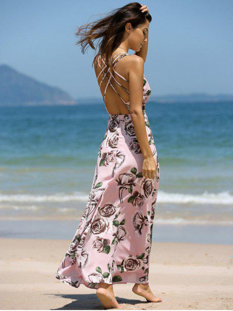 ladies Floral Cross Back Cami Maxi Dress - COLORMIX S Mobile