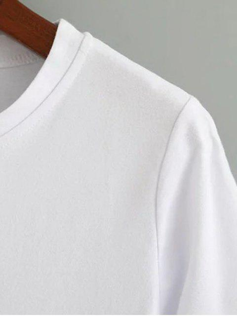 shop Cute Cotton Embroidered T-Shirt - WHITE M Mobile