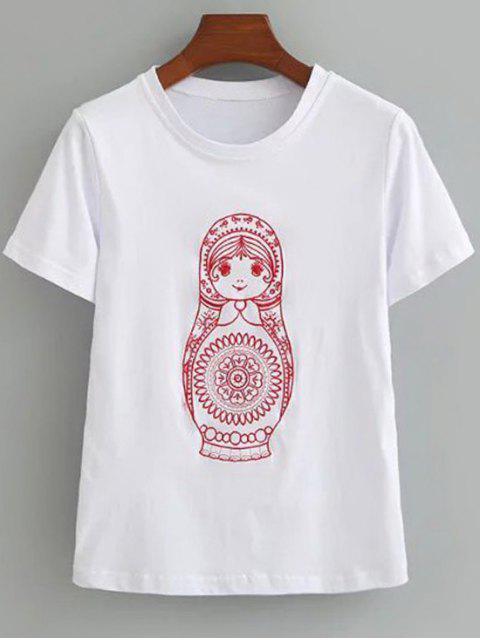 T-shirt brodé mignon en coton - Blanc S Mobile