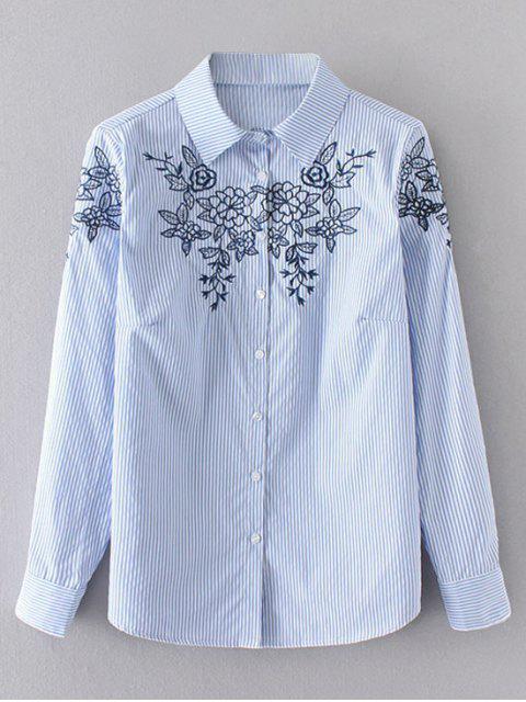 hot Floral Embroidered Stripes Shirt - BLUE M Mobile