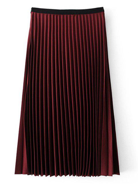 fancy Midi High Waisted Pleated Skirt - WINE RED M Mobile