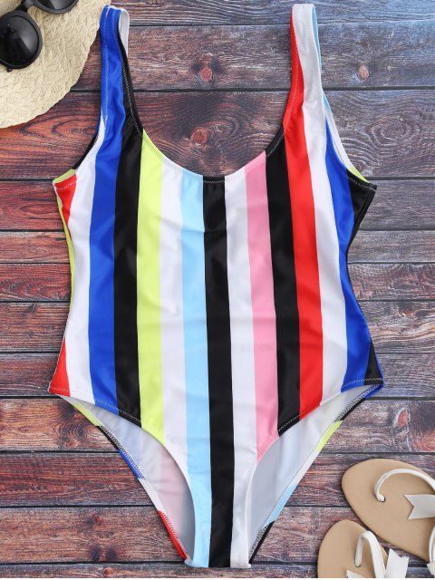 trendy Rainbow Stripes One Piece Swimsuit - MULTICOLOR M Mobile