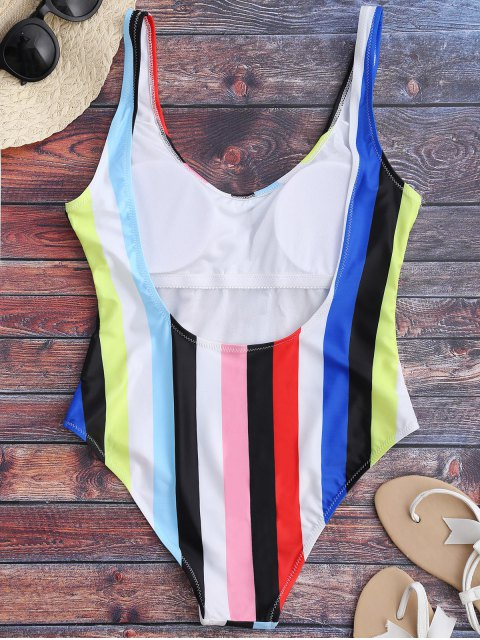 fashion Rainbow Stripes One Piece Swimsuit - MULTICOLOR S Mobile