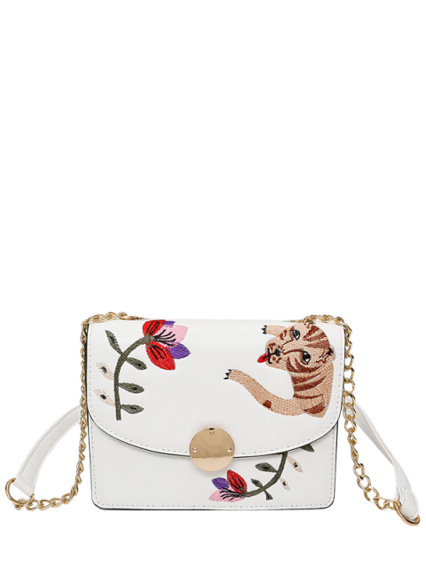 buy Embroidered Chain Crossbody Bag - WHITE  Mobile