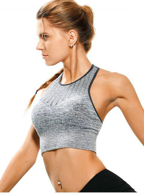 fashion Space Dyed Ladder Cut Racerback Sporty Top - FEATHER GRAY M Mobile