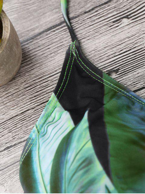 ladies Lattice Tropical Palm Print Bikini Set - BLACK AND GREEN S Mobile