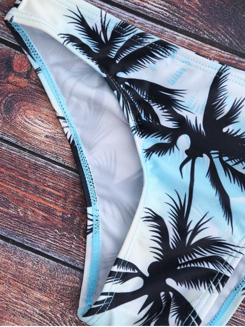 trendy High Neck Palm Tree Print Bikini Set - MULTICOLOR M Mobile