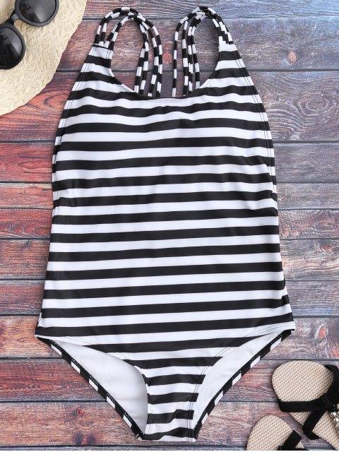 maillot de bain à dos-nu à une pièce à rayures - Blanc et Noir S Mobile
