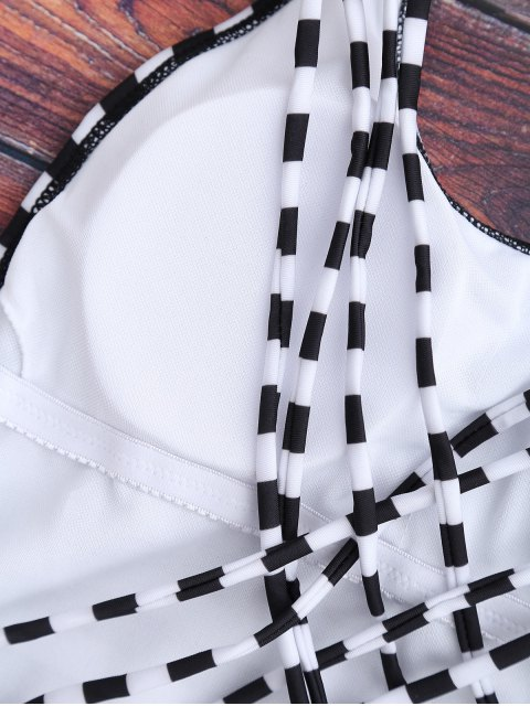 shop Strappy Open Back One Piece Swimsuit - WHITE AND BLACK S Mobile