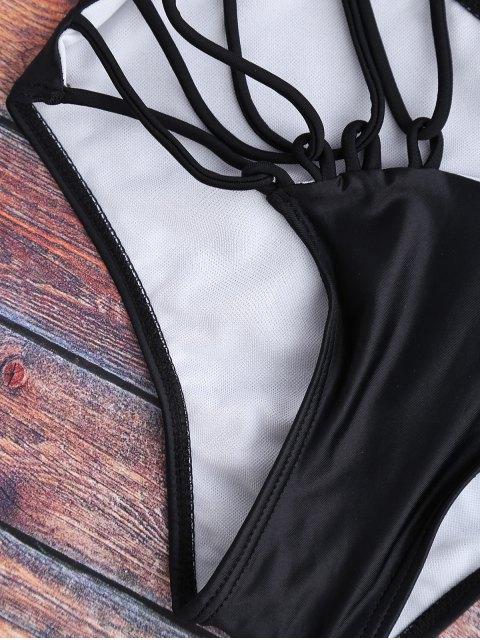 affordable Cutout Monokini One Piece Swimsuit - BLACK S Mobile