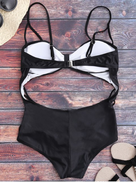 buy Cutout Monokini One Piece Swimsuit - BLACK M Mobile