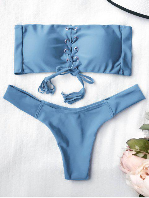 latest Lace Up Bandeau Bikini Set - BLUE S Mobile