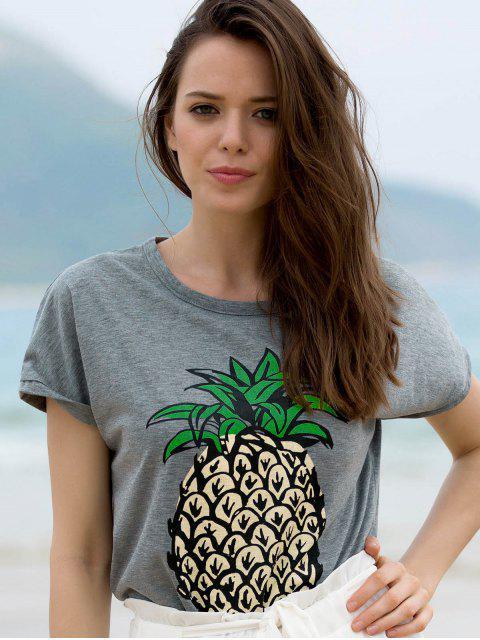 T-shirt col rond manches courtes imprimé fruit - Gris M Mobile