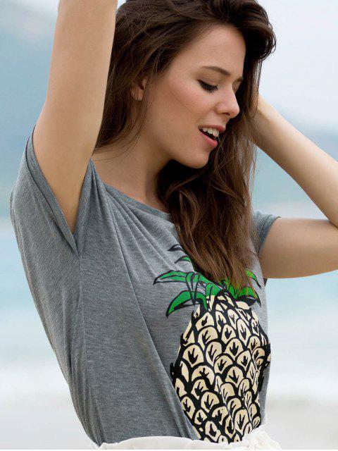 T-shirt col rond manches courtes imprimé fruit - Gris S Mobile