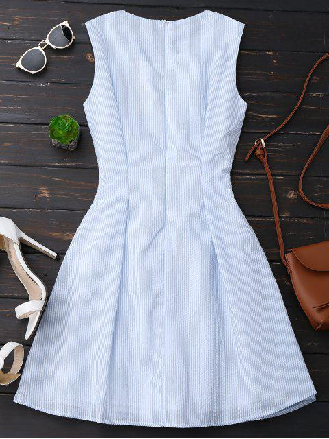 shop Sleeveless Striped Bowknot Dress - BLUE STRIPE S Mobile