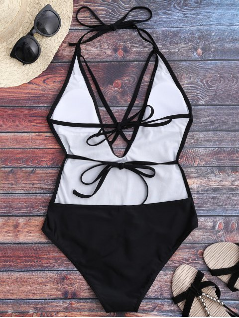 affordable Open Back Plunge One Piece Swimwear - BLACK XL Mobile