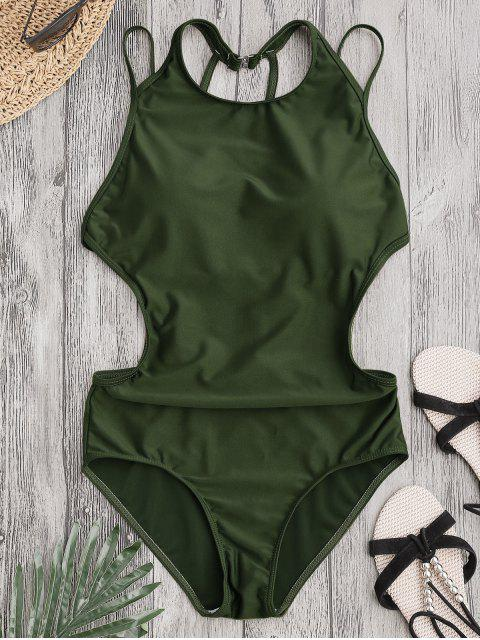 new Padded Back Strappy Swimwear - ARMY GREEN M Mobile