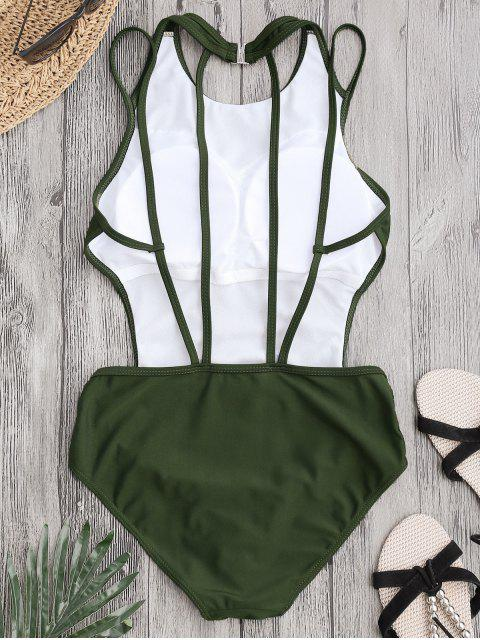 hot Padded Back Strappy Swimwear - ARMY GREEN S Mobile