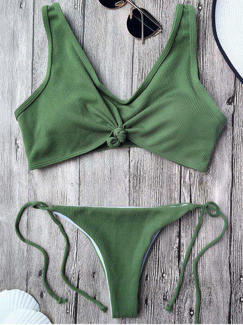 best Ribbed Knotted String Bralette Bikini - ARMY GREEN L Mobile