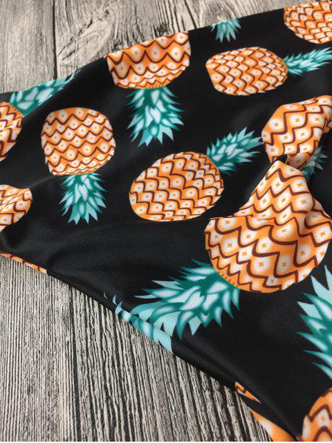 outfit Halter Pineapple Print Wrap Bikini - BLACK M Mobile