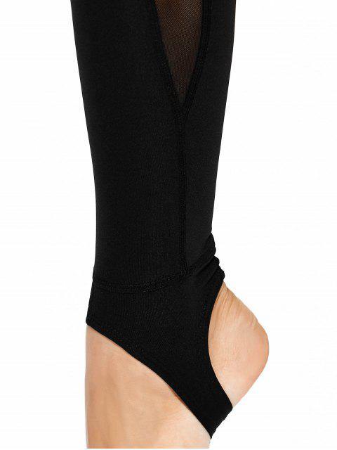 women's Mesh Panel Stirrup Yoga Leggings - BLACK S Mobile