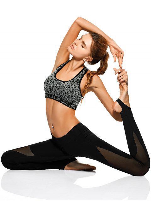 shops Mesh Panel Stirrup Yoga Leggings - BLACK XL Mobile