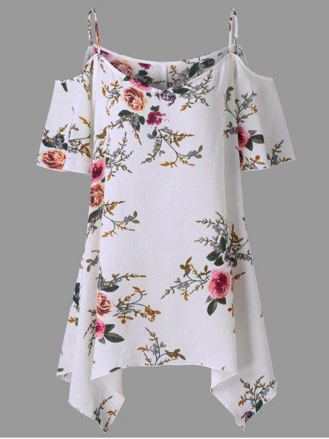 womens Plus Size Dew Shoulder Tiny Floral Blouse - WHITE 4XL Mobile