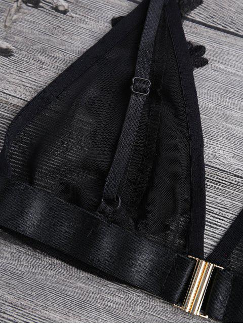 women's Applique Sheer Mesh Plunge Bralette Top - BLACK XL Mobile