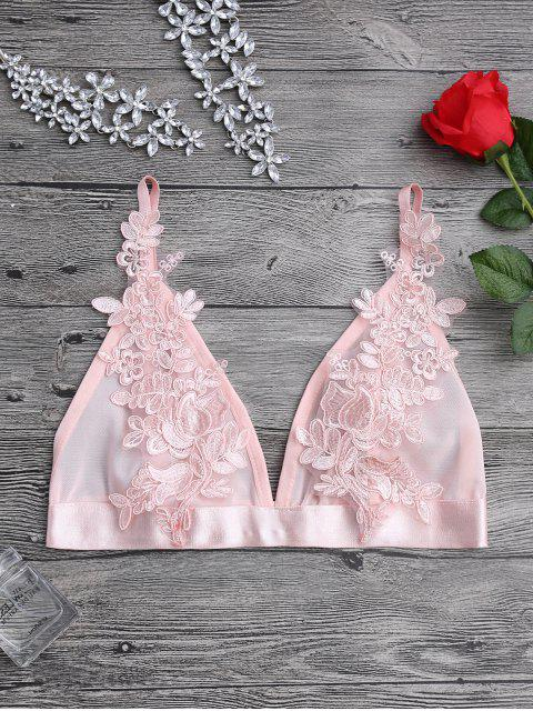 ladies Applique Sheer Mesh Plunge Bralette Top - PINK S Mobile