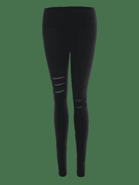 ladies Mesh Panel Stretchy Yoga Leggings - BLACK L Mobile